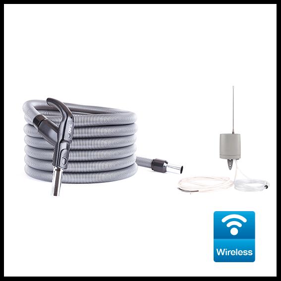 Kit Wireless per avviamento/arresto centrali aspiranti monofase della linea QB a Parete, completo di ricevitore e tubo flessibile Ø32 da 9mt con impugnatura ergonomica e trasmettitore