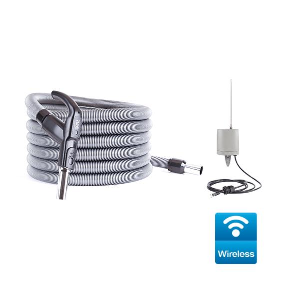 Kit Wireless per avviamento/arresto centrali aspiranti monofase delle linee Perfetto Inox TXA - Perfetto TPA - Perfetto TP - Classic TC, completo di ricevitore e tubo flessibile Ø32 da 9mt con impugnatura ergonomica e trasmettitore
