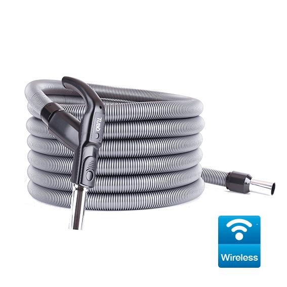 Tubo flessibile completo Ø32 da 9 mt per Sistema Wireless con impugnatura ergonomica, regolatore di pressione e trasmettitore per avviamento/arresto della centrale aspirante.